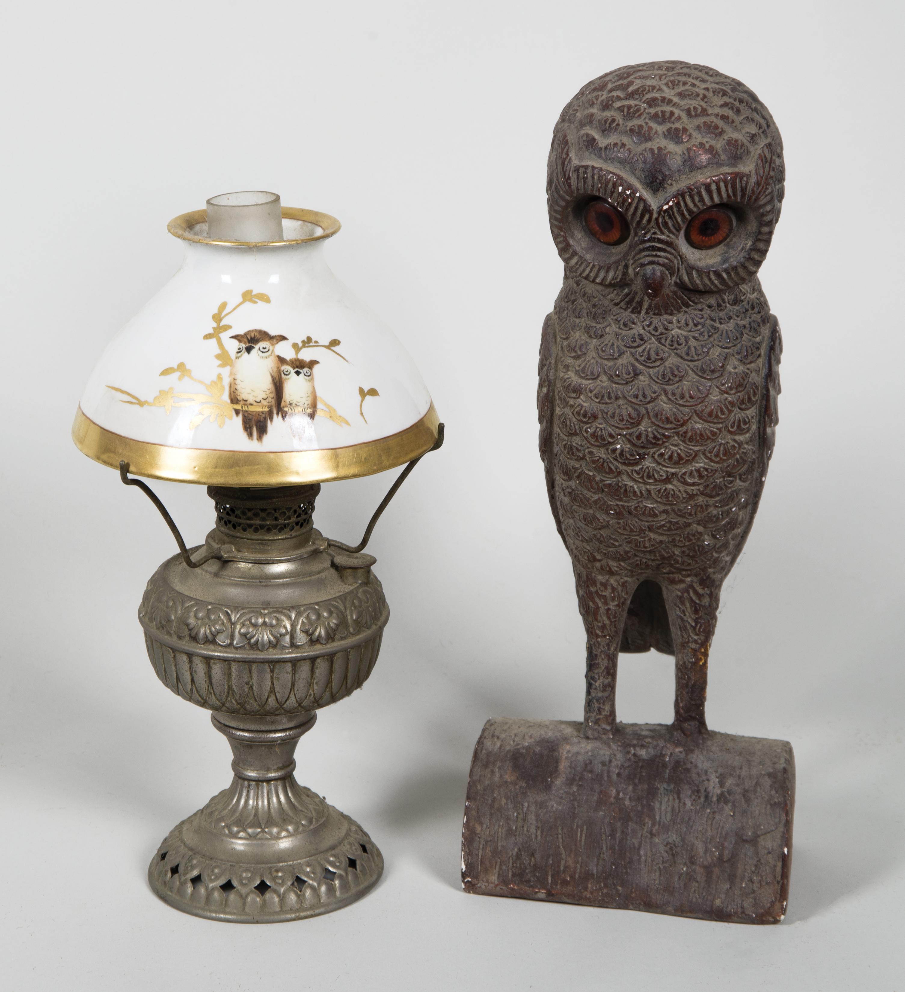 kerosene, lamp, owls