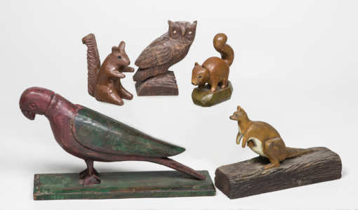 carved, painted, wood, animals