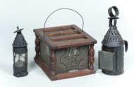 punched, tin, lanterns, footwarmer