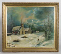 oil, painting, moonlit, winter