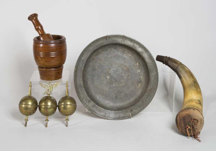 mortar, pestle, pewter, powder horn