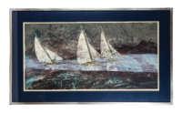 litho, print, sailboats, silent blue