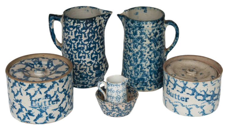 spongeware, pitcher, bowl