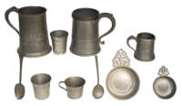pewter, beakers, porringers, plates