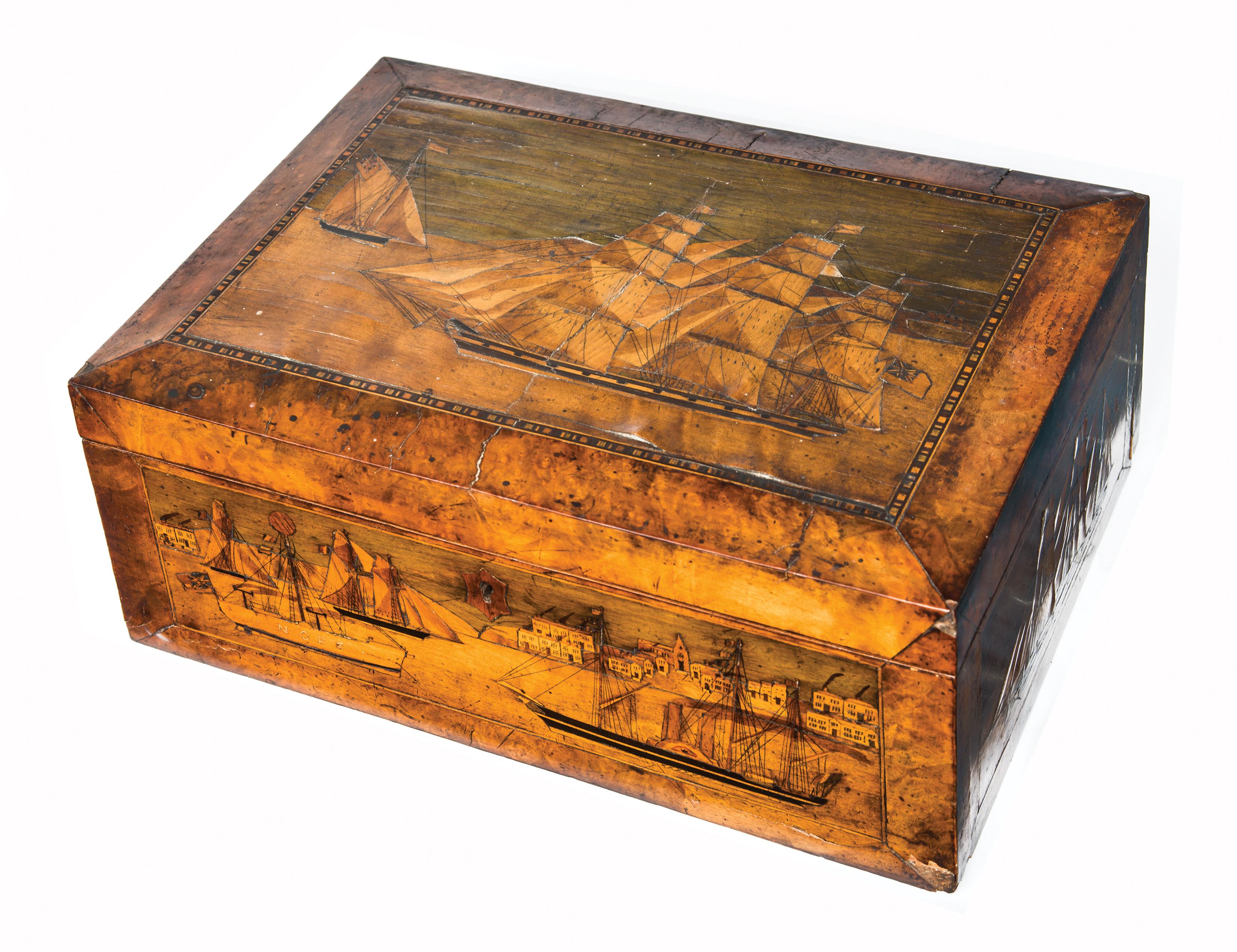 inlaid, bureau, box, british