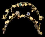 gold, charm, bracelet