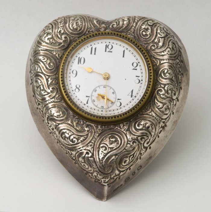 sterling, silver, heart, clock