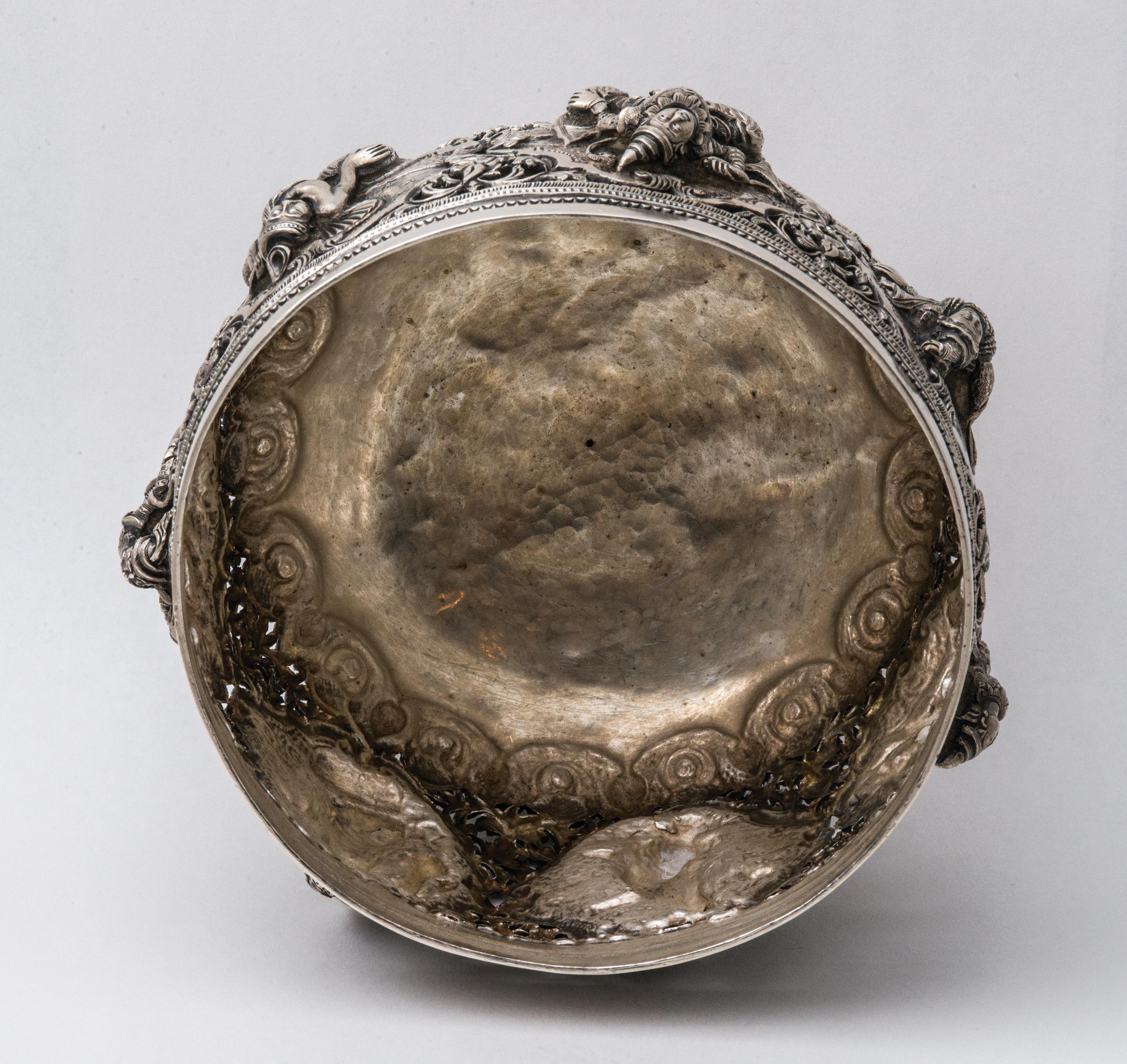 asian, silver, bowl