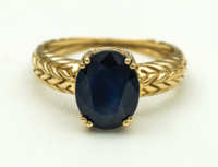 gold, ring, sapphire, 14k