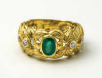 gold, ring, emerald, 18K