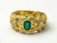 gold, ring, emerald, 18K