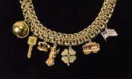 14k, gold, charm, bracelet