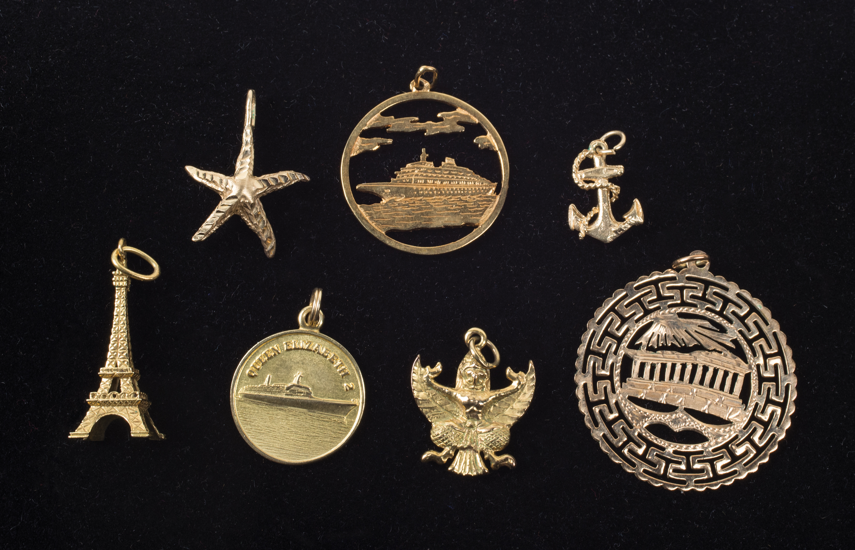14k, gold, charms