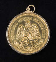 mexican, gold, coin, 14k