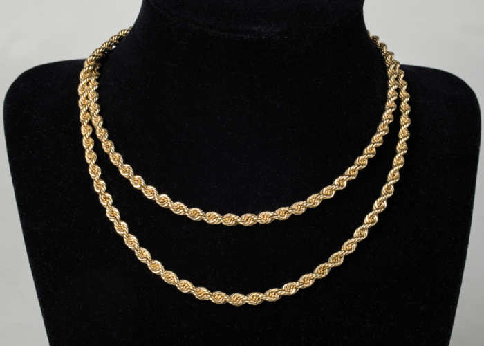 14k, gold, rope, twist, necklace