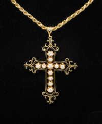 14k, gold, cross, diamond, chain, necklace
