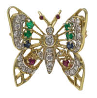 butterfly, pin, 14k, gold, diamonds