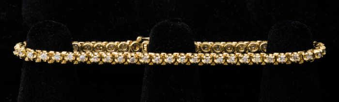 14k, gold, diamond, bracelet