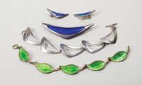bracelets, pin, earrings