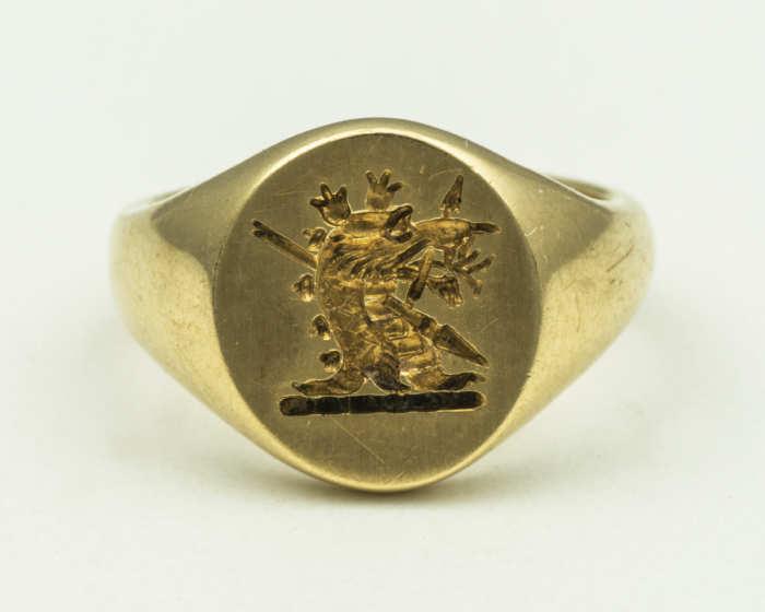 tiffany, signet, ring, 14k, dragon