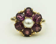 14k, gold, rings, pearl, garnets, sapphire