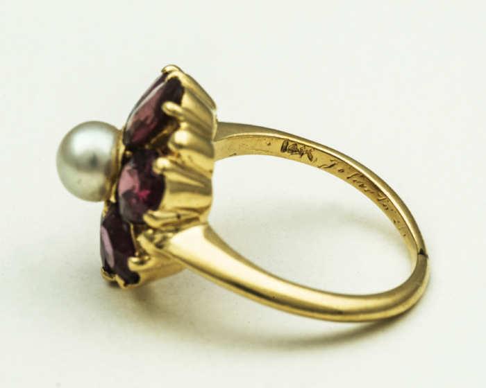14k, gold, rings, pearl, garnets