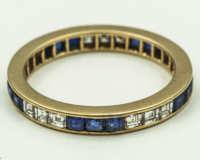 14k, gold, eternity, ring, diamonds, sapphire