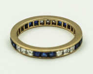 14k, gold, eternity, ring, diamonds, sapphire