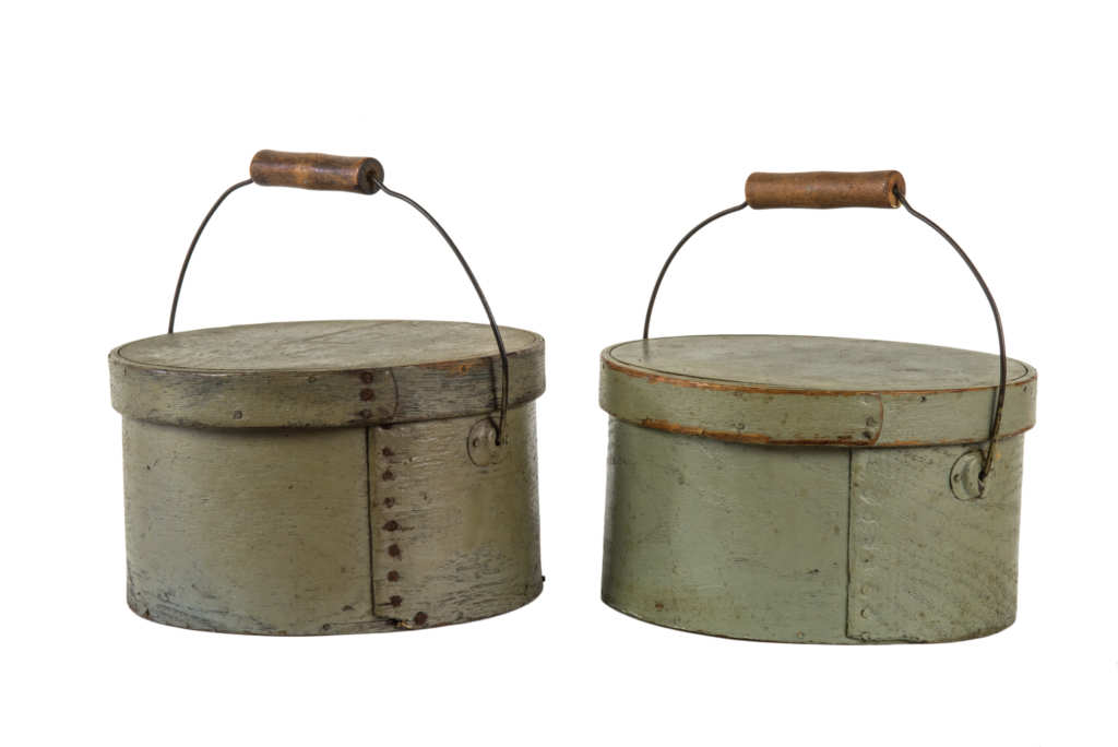 TWO 19TH C. LIDDED PANTRY BOXES