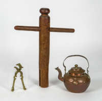 Brass Nutcracker, Bed Wrench, And Teakettle