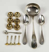 Coin Silver Ladle, Salts, Spoons