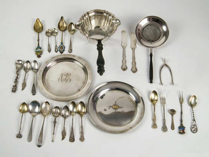 Sterling Pan, Tea Strainer, Plates, Tongs, Flatware