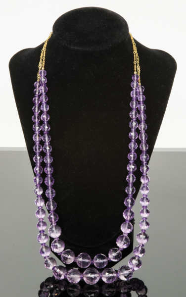 Amethyst Cut Bead Necklace