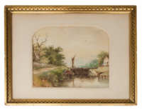 19th C. Coastal Scene Watercolor