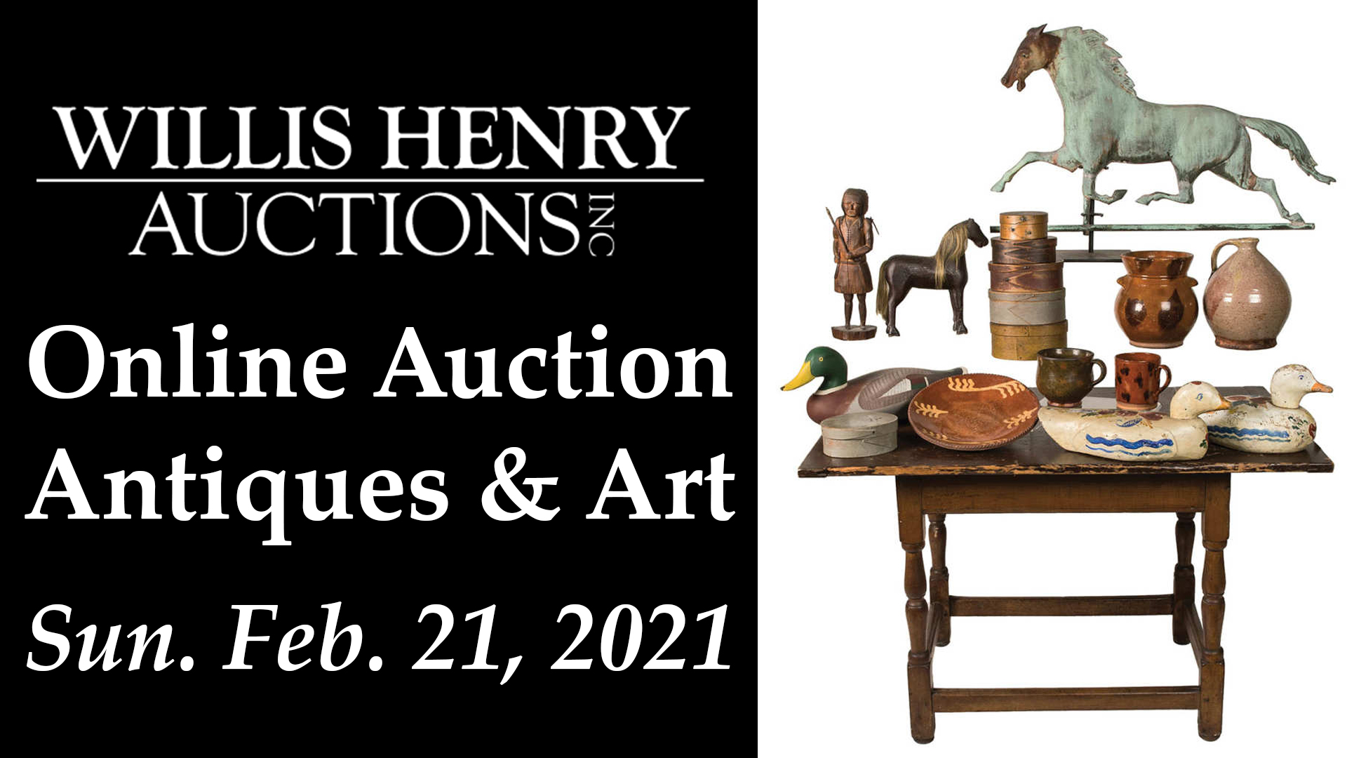 Online Estate Antiques & Art Auction - Sunday Feb. 21, 2021